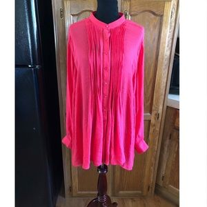 Alfani Pleated Front Coral Top Size 3X